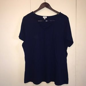 Blue blouse with cross-cross neck line